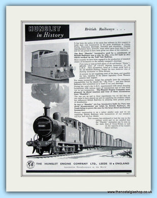 The Hunslet Engine Company  Original Advert 1955 (ref AD6516)