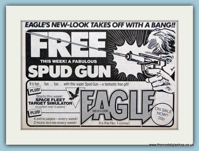 Eagle Comic With Free Spud Gun Original Advert 1983 (ref AD6413)