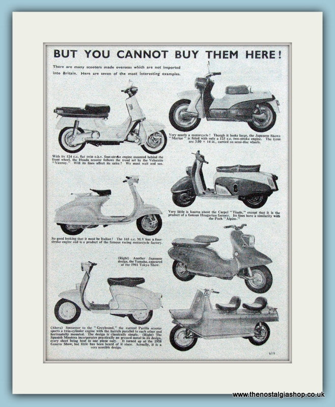Scooters from Overseas, 1961 Illustrated Page (ref AD4075)