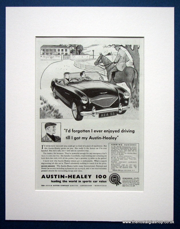 Austin Healey 100. Set of 2 Original adverts1955 (ref AD1390)