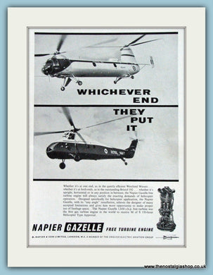 Napier Gazelle Helicopter Royal Navy Original Advert 1959 (ref AD4252)