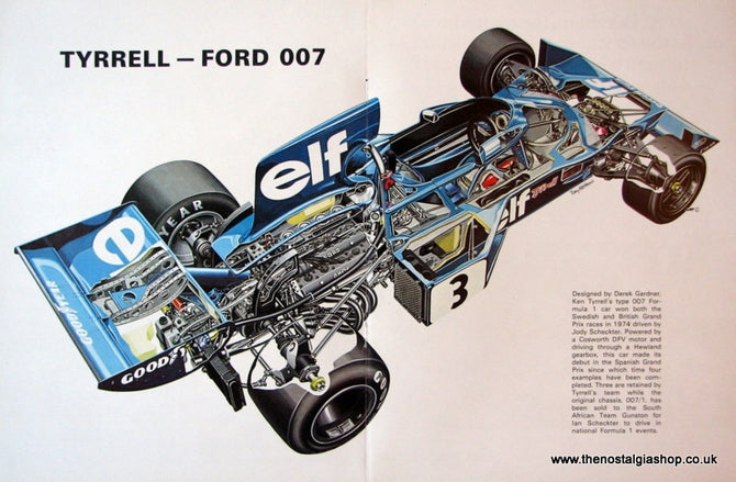 Ford 007 Tyrrell. A3 Size Pullout 1974 (ref AD1130)