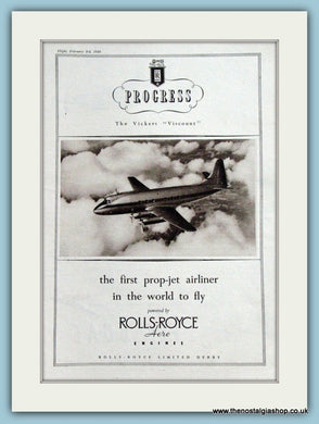 Progress Viscount Rolls Royce Aircraft Original Advert 1949 (ref AD4247)