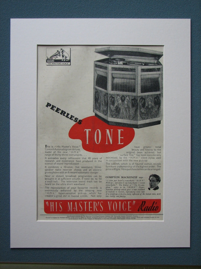 His Masters Voice Radio 1938 Original advert (ref AD845)