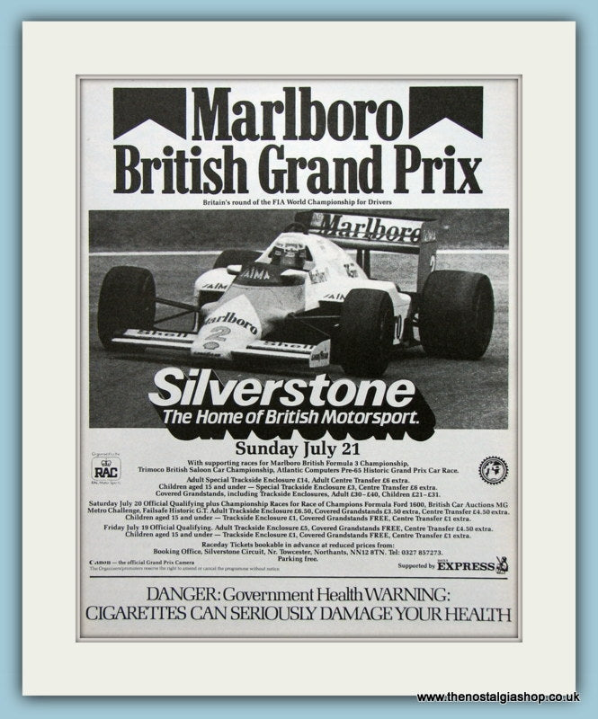 British Grand Prix Silverstone 1985 Original Advert. (ref AD1992)