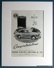 Load image into Gallery viewer, Hillman Minx 21st Anniversary Set Of 2 1953 Original Adverts (ref AD1712)