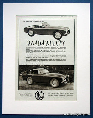 AC Aceca 2 Seater 1955 Original Advert (ref AD1445)