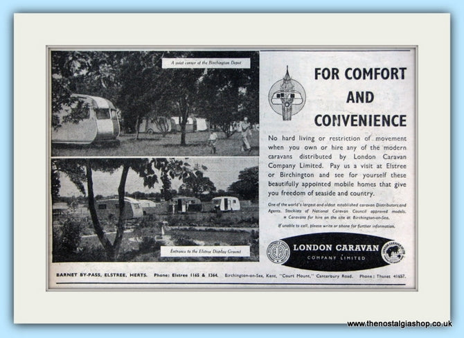 London Caravan Company Original Advert 1952 (ref AD5045)