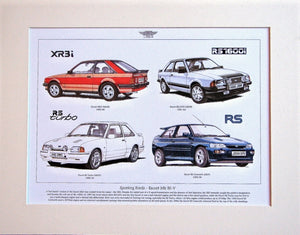 Ford Escort  Mk III - V  Mounted Print