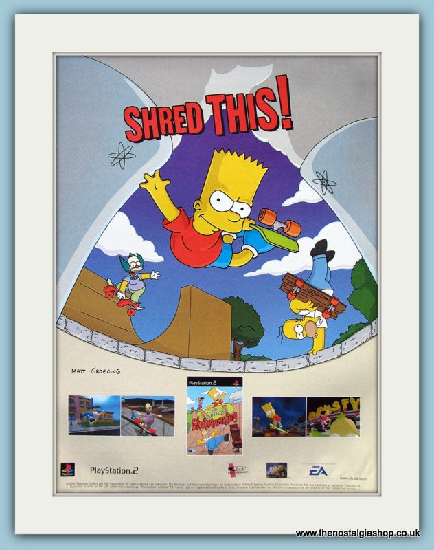 The Simpsons  Skateboarding Game Original Advert 2008 (ref AD4000)