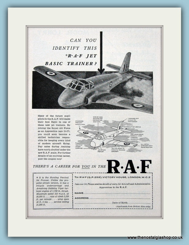 R.A.F Set Of 4 Original Adverts 1957 (ref AD6268)