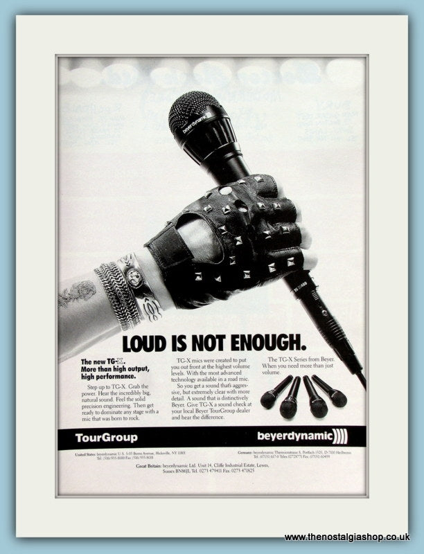 Beyerdynamic Microphone TG-X. Original Advert 1991 (ref AD2195)