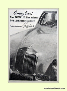 Armstrong Siddeley 2.3 Litre Saloon Original Advert 1955 (ref AD6658)