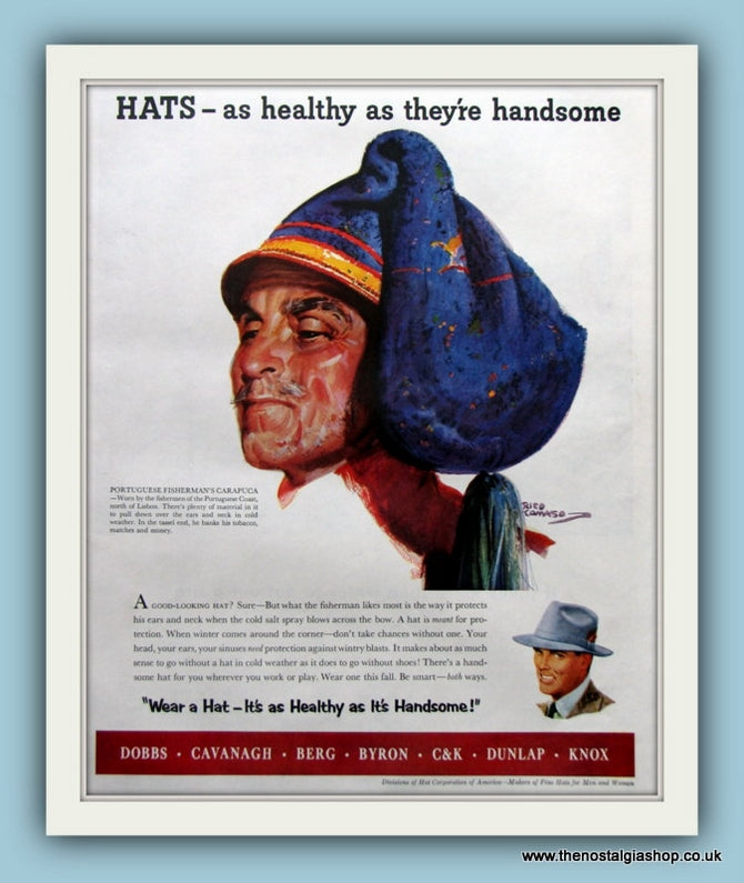 Hats, Healthy and Handsome! Original Advert 1953 (ref AD8181)