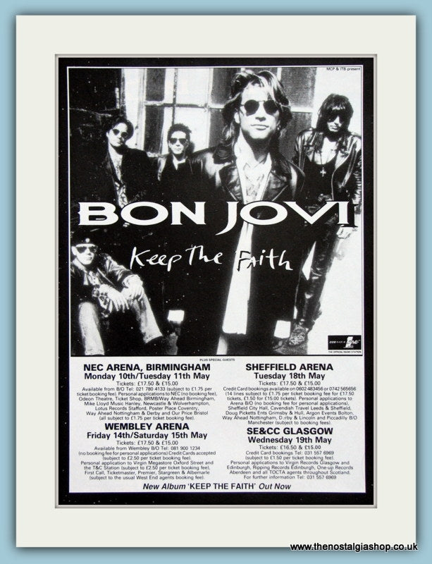 Bon Jovi Keep The Faith Tour, 1992 Original Advert (ref AD3268)