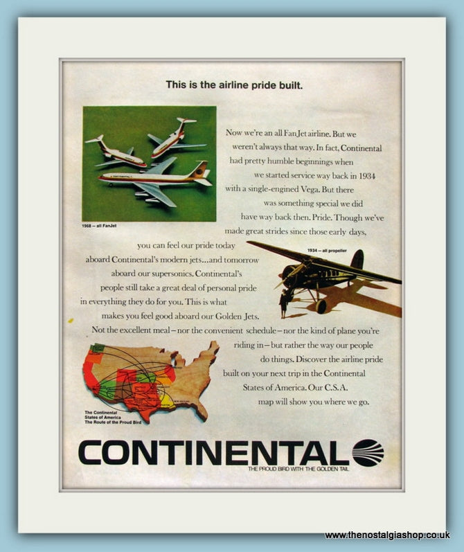 Continental Airlines. Original Advert 1968 (ref AD8269)