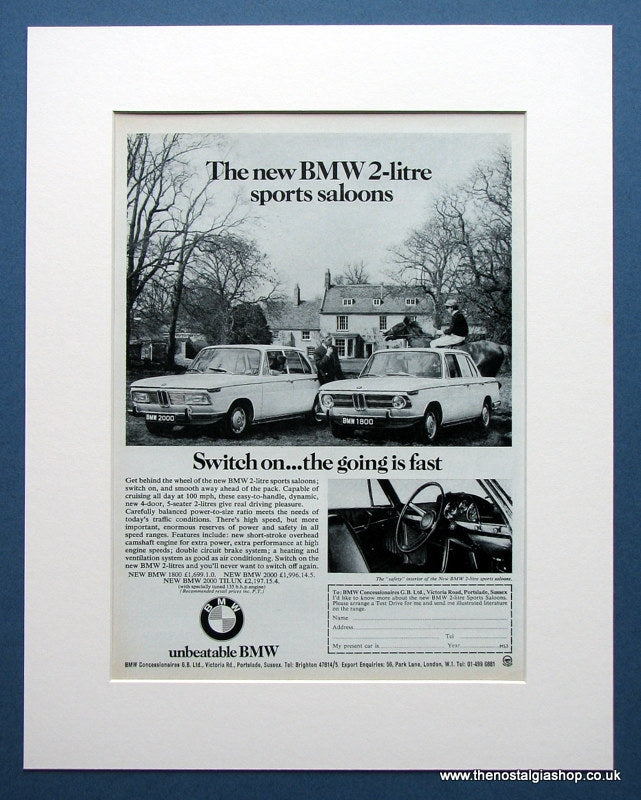 BMW 1800 & 2000. Original advert 1969 (ref AD1412)