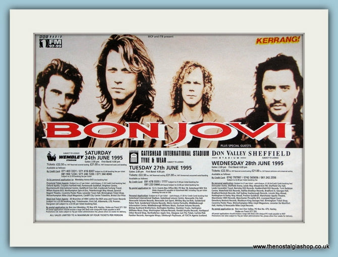 Bon Jovi Tour Dates 1995 Original Advert (ref AD3261)