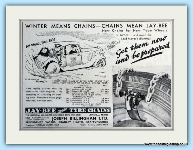 Jay Bee Tyre Chains Original Advert 1953 (ref AD5091)