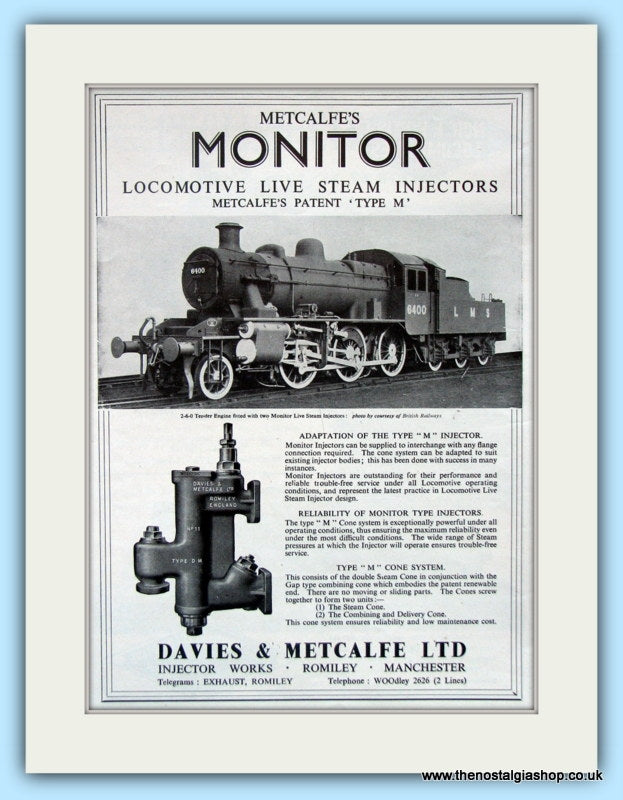 Metcalfe's Monitor Steam Injectors Original Advert 1951 (ref AD6480)