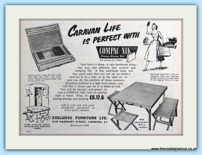 Compac-Nik Folding Dining Set Original Advert 1955 (ref AD6315)