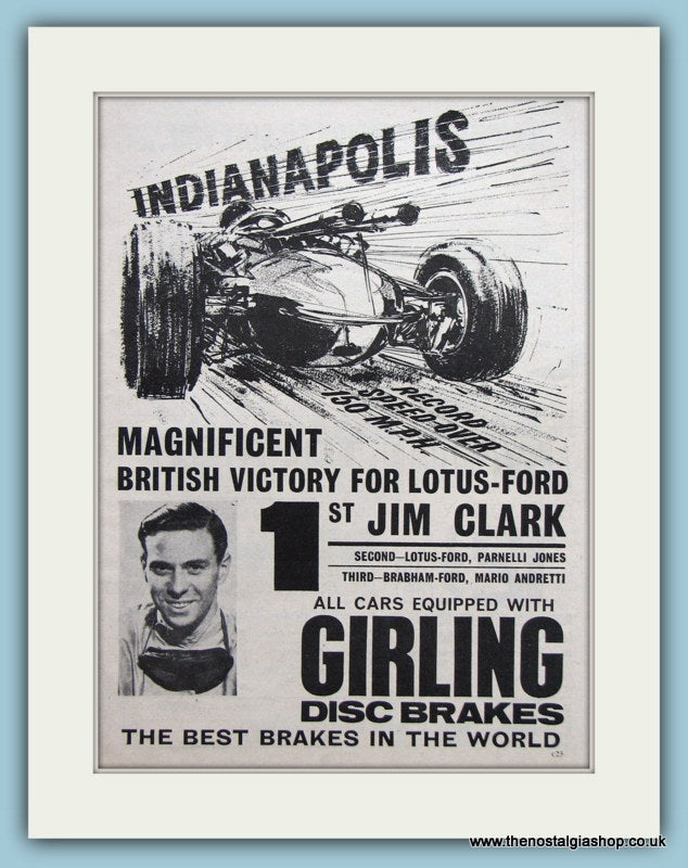 Jim Clark wins Indianapolis in Lotus Ford 1965 Original Advert (ref AD1995)