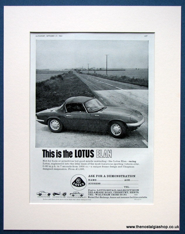 Lotus Elan 1963 Original Advert (ref AD1659)