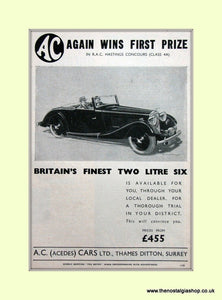 AC Two Litre. set of 2 Original Adverts 1937 (ref AD6610)