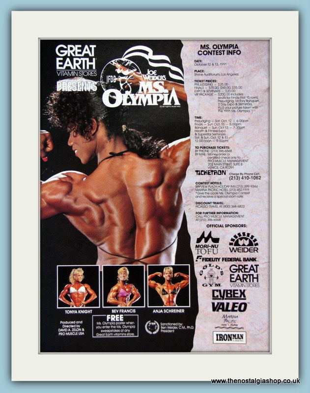 Joe Weider's Ms Olympia Original Advert 1991 (ref AD3934)