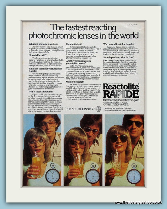 Reactolite Rapide Glasses. Original Advert 1978 (ref AD2236)