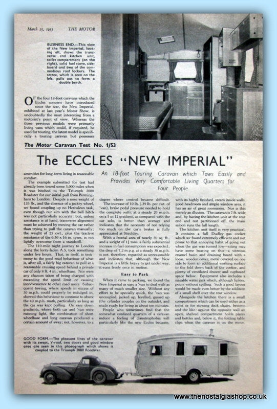 The Eccles New Imperial Caravan Original Test Report 1953 (ref AD6374)