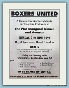 PBA Inaugural Dinner and Awards. Original Advert 1994 (ref AD4397)