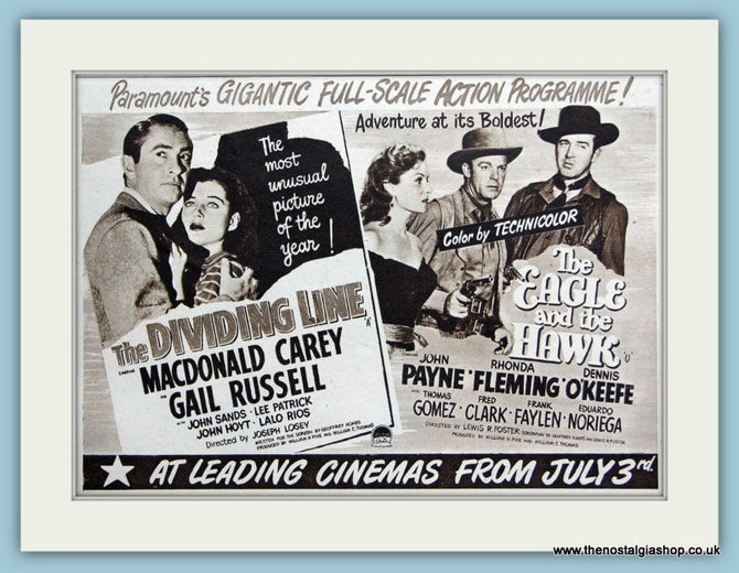 The Dividing Line & The Eagle and The Hawk, 1950 Original Advert (ref AD3241)