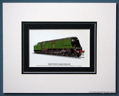 British Railways 'Battle Of Britain' No:34051 Mounted Print (ref SP36)