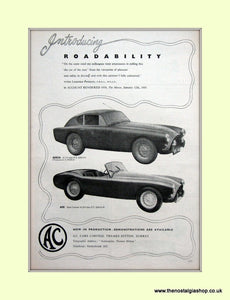 AC Sports Cars. Set of 2 Original Adverts. (ref AD6606)