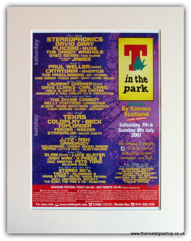 T In The Park 2001 Event Advert. Stereophonics. (ref AD1821)