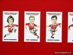 Middlesbrough Heroes and Legends. Mounted Football Card Set.