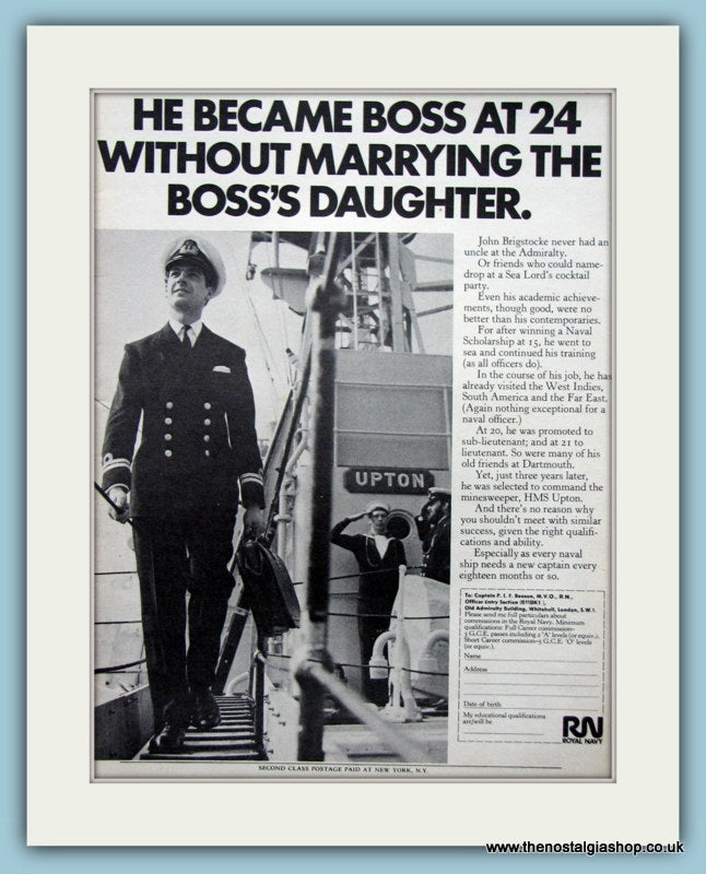 Royal Navy Boss at 24. Original Advert 1971 (ref AD6072)