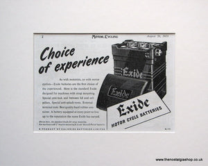 Exide Motorcycle Battery 1953 Original advert (ref AD1598)