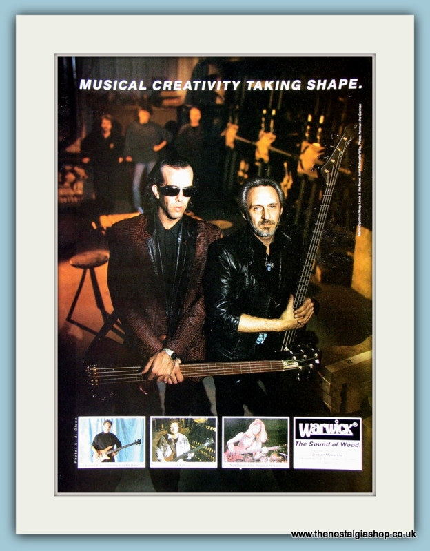 Warwick, with John Entwistle and Mario Cipollina. Original Advert 1991 (ref AD2218)
