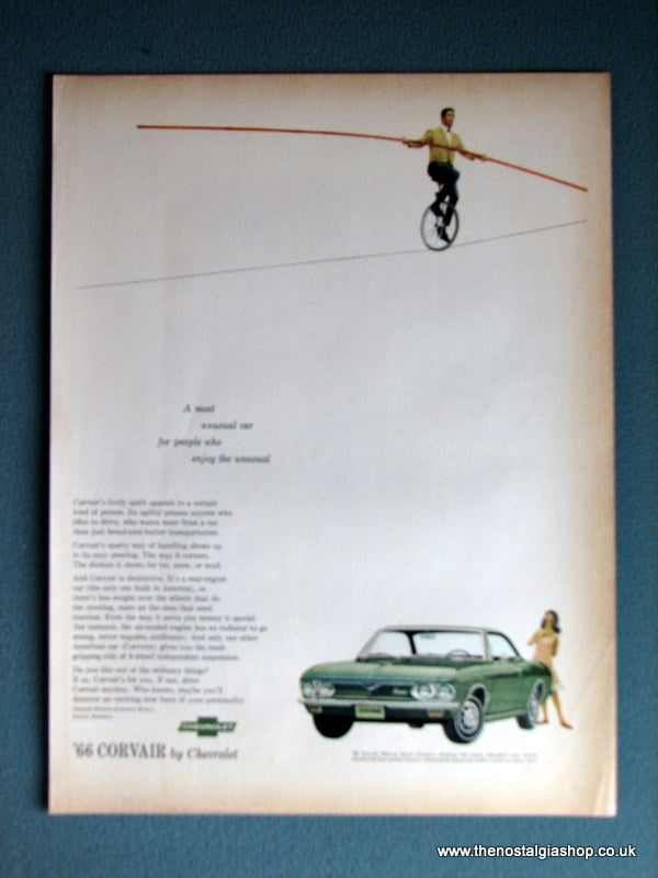 Chevrolet Corvair '66. Original Advert 1966 (ref AD4007)