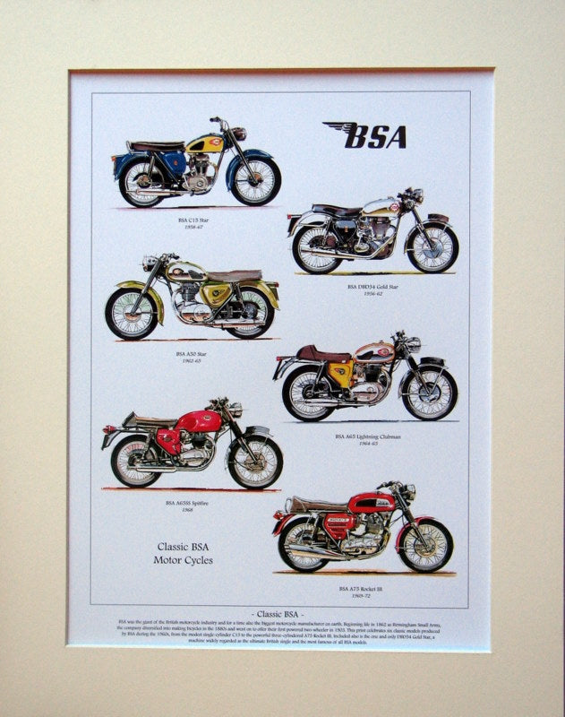 BSA Motorcycles  Mounted print