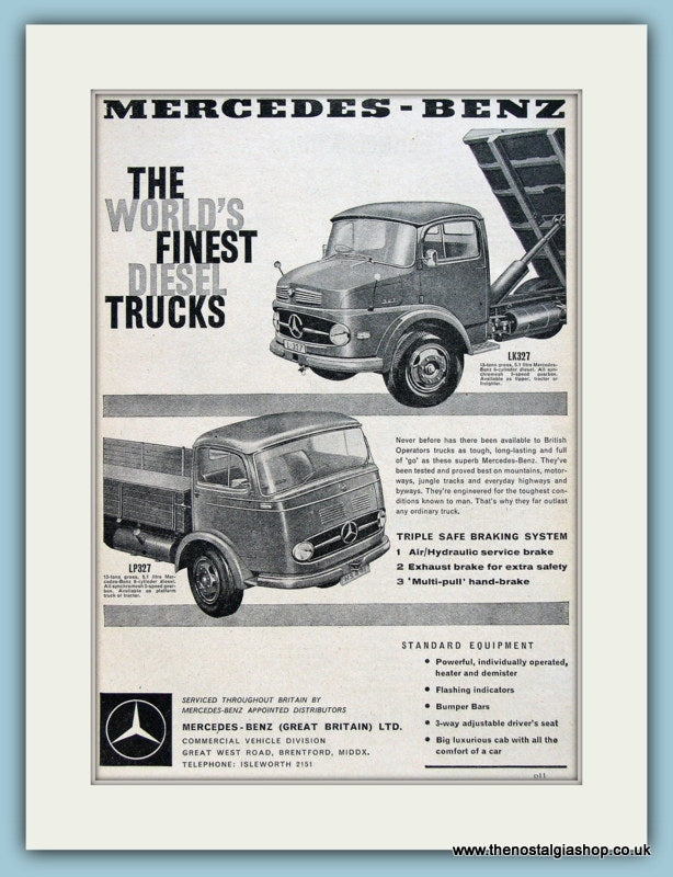 Mercedes-Benz Diesel Trucks Original Advert 1960 (ref AD2956)