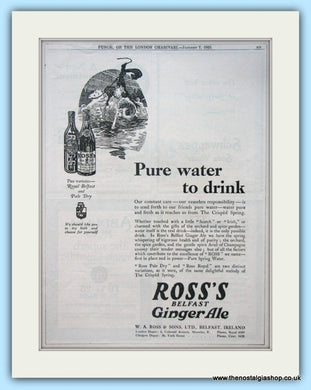 Ross's Dry Ginger Ale From Belfast Set Of 3 Original Adverts 1925 & 1915 (ref AD4946)
