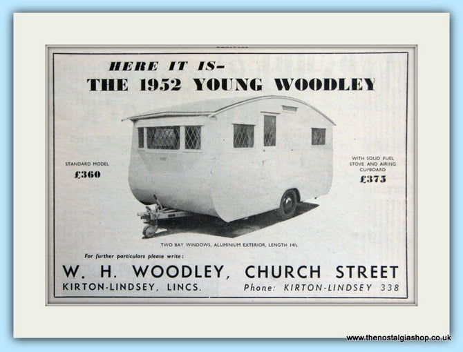 Young Woodley Caravan Original Advert 1952 (ref AD5046)