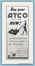 Load image into Gallery viewer, Atco Motor Mowers. Set of 2 Original Adverts 1938 (ref AD4593)