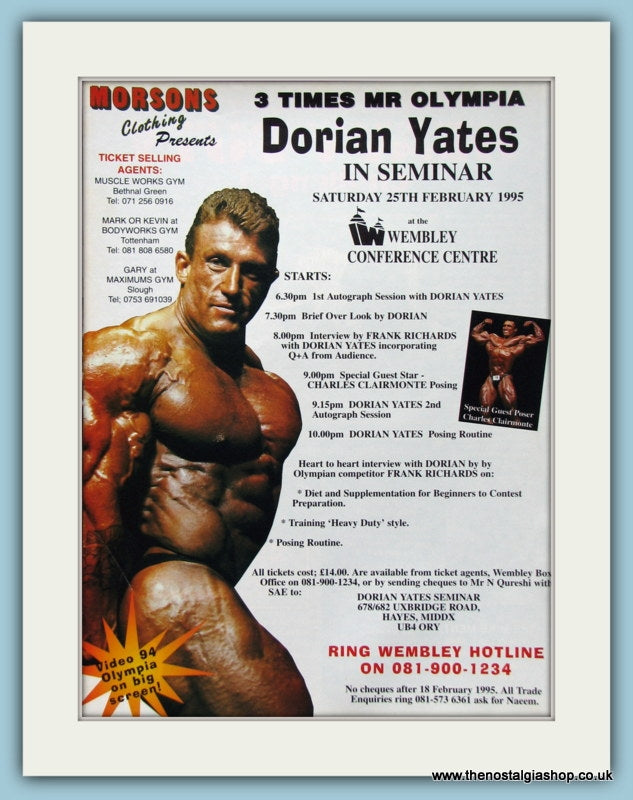 Dorian Yates In Seminar Wembley Original Advert 1995 (ref AD3942)