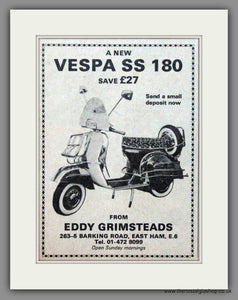 Vespa SS 180 from Eddy Grimsteads. Original advert 1968 (ref AD52470)