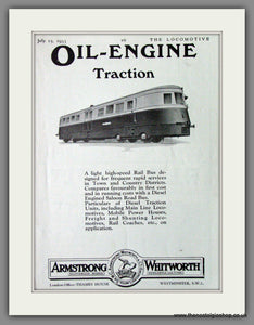 Armstrong Whitworth & Co. Oil Engine Traction. Rail Bus. Original Advert 1933 (ref AD53216)