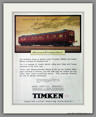 Timkin Roller-Bearing Axle Boxes. Original Advert 1945 (ref AD53298)